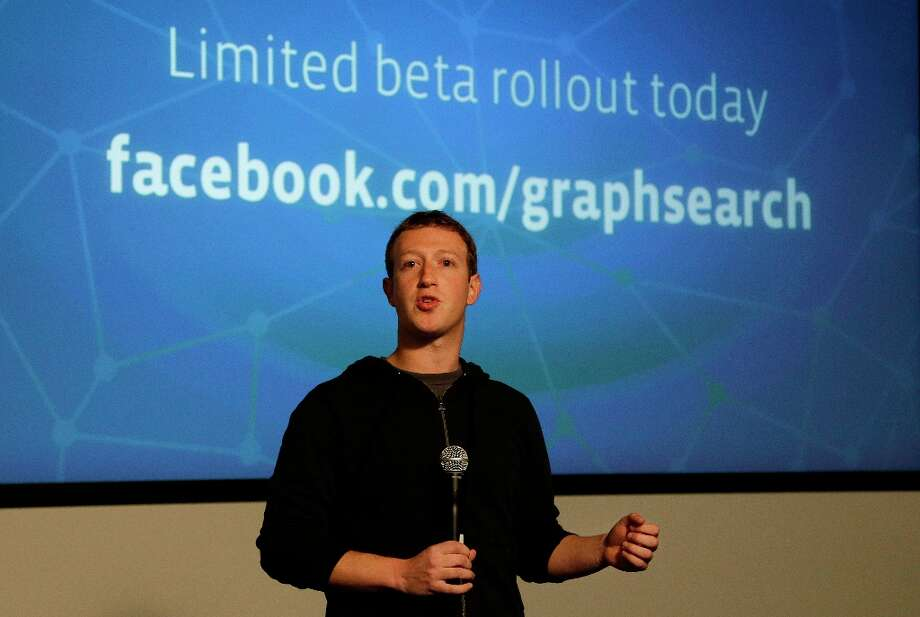 """Facebook CEO Mark Zuckerberg speaks at Facebook headquarters in Menlo Park, Calif., Tuesday, Jan. 15, 2013.  Zuckerberg introduced """"graph search Tuesday, a new service that lets users search their social connections for information about their friends' interests, and for photos and places.  (AP Photo/Jeff Chiu) Photo: Jeff Chiu, Associated Press / AP"""