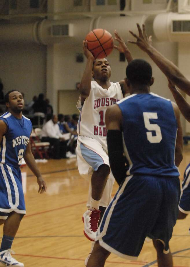 Dedrick Basile (#10) with Madison shoots during their game with Westbury at Butler Field House Friday 2/03/12. Photo by Tony Bullard. Photo: Tony Bullard, Freelance Photographer / Tony Bullard & the Houston Chronicle