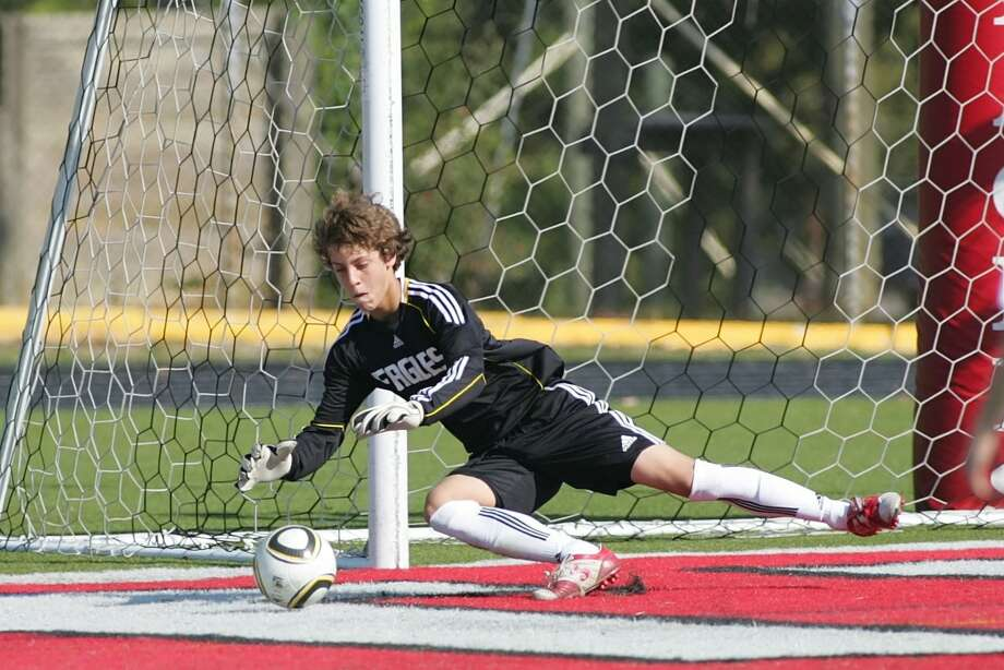 St. Thomas goalkeeper Stephen Luther and the Eagles are back in action on the road at The Village School this Tuesday. Photo: Matthew White, Freelance / Freelance