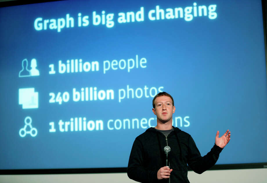 MENLO PARK, CA - JANUARY 15:  Facebook Chairman and Chief Executive Mark Zuckerberg introduces Graph Search features during a presentation January 15, 2013 in Menlo Park. Facebook announced a search function that works within the website and allows users to search content that people have shared with you or is public. Photo: Stephen Lam, Getty Images / 2013 Getty Images