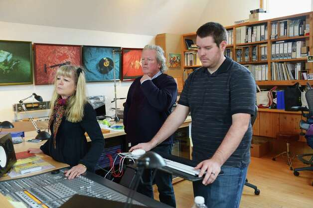 "FAIRFIELD, CT - JANUARY 09:  (L-R) Tina Weymouth and Chris Franz of The Tom Tom Club and Talking Heads and audio engineer Tyler Bird help children of Newton, CT to perform ""A Song From Sandy Hook"" at the home of  on January 9, 2013 in Fairfield, Connecticut.  (Photo by Michael Loccisano/Getty Images for Tim Hayes) Photo: Michael Loccisano, Getty Images For Tim Hayes / 2013 Getty Images"