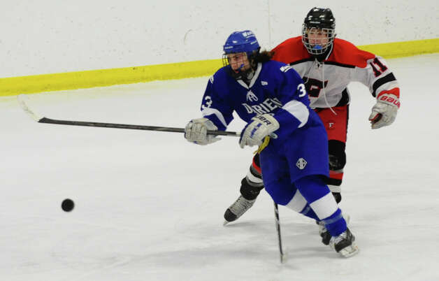 Boys hockey action between Darien and Fairfield Warde/Ludlowe at the Wonderland of Ice in Bridgeport, Conn. on Saturday January 12, 2013. Photo: Christian Abraham / Connecticut Post