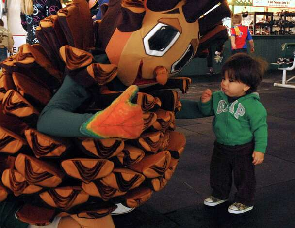 One-year-old Nicholas Reems of The Woodlands approaches The Woodlands mascot Puffy Pine Cone during a visit to the Ice Rink, corner of Lake Robbins and Six Pines.  Photo by David Hopper Photo: David Hopper, Freelance / freelance