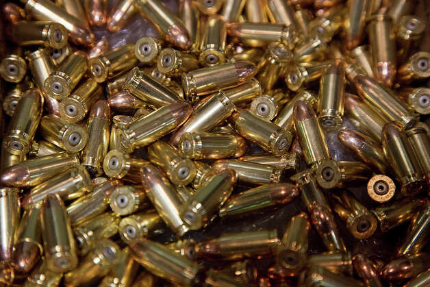 A box of 9mm bullets sits on display at the 35th annual SHOT Show, Tuesday, Jan. 15, 2013, in Las Vegas. The National Shooting Sports Foundation was focusing its trade show on products and services new to what it calls a $4.1 billion industry, with a nod to a raging national debate over assault weapons. Photo: Julie Jacobson, AP / AP