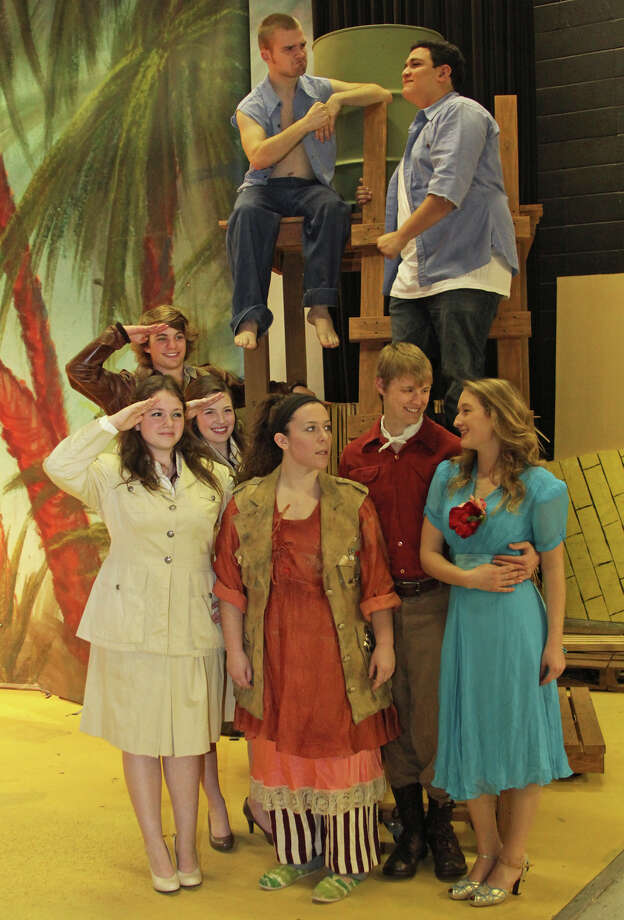 "The ""South Pacific"" cast includes, clockwise, from top left: Nathan Agnew as Billis, Matt Galindo as Stewpot, Allison Anderson as Nellie, Matt Flowers as Emile, Beth Bishop as Bloody Mary, Heather Hankins as Janet, Kelsey Pearson as Dinah and Zachary Moller as Cable.    The ""South Pacific"" cast includes, clockwise, from top left: Nathan Agnew as Billis, Matt Galindo as Stewpot, Allison Anderson as Nellie, Matt Flowers as Emile, Beth Bishop as Bloody Mary, Heather Hankins as Janet, Kelsey Pearson as Dinah and Zachary Moller as Cable. Photo: Courtesy"