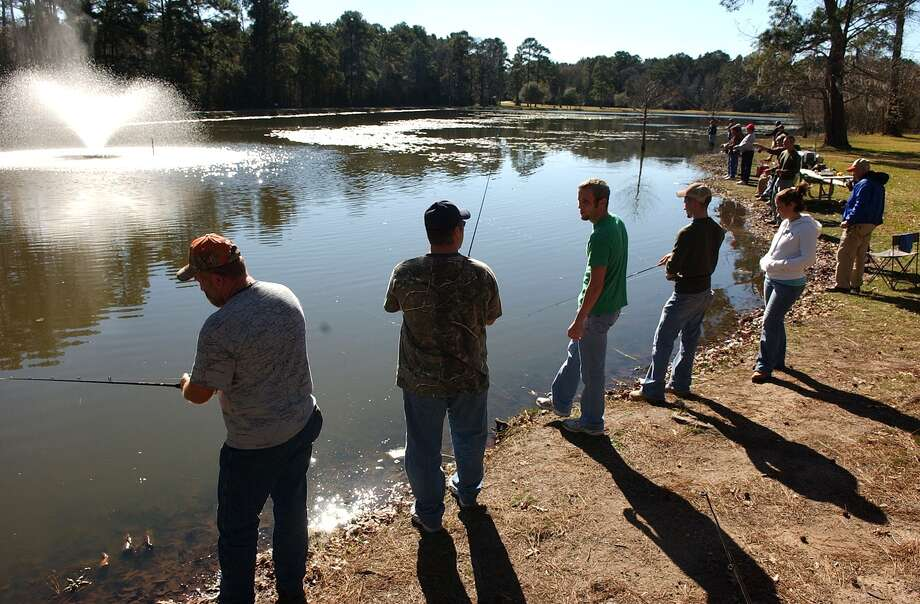 Fishing enthusiasts wet a line for last year's release of rainbow trout at Burroughs Park in Tomball. Photo: Jerry Baker, Freelance / Freelance