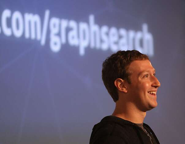 Facebook chief executive Mark Zuckerberg introduces Graph Search featured during a presentation at his headquarters in Menlo Park, Calif., on Tuesday, January 15, 2013. Photo: Liz Hafalia, The Chronicle