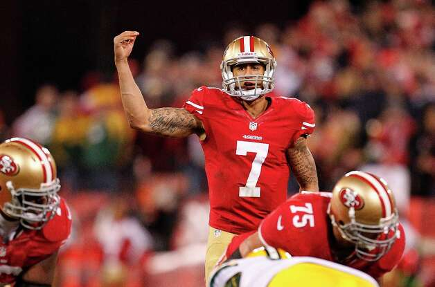 San Francisco 49ers quarterback Colin Kaepernick (7) against the Green Bay Packers during an NFC divisional playoff NFL football game in San Francisco, Saturday, Jan. 12, 2013. (AP Photo/Tony Avelar) Photo: Tony Avelar, Associated Press / FR155217 AP