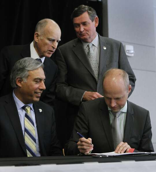 Gov. Jerry Brown (top left), CSU Chancellor Timothy White (top right) and San Jose State President M