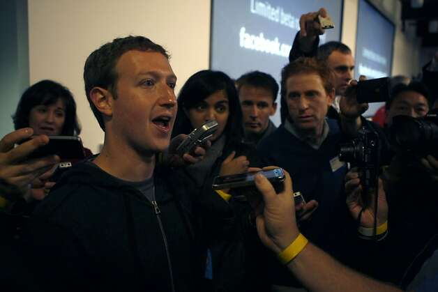 Facebook chief executive Mark Zuckerberg talks with press after introducing Graph Search at his headquarters in Menlo Park, Calif., on Tuesday, January 15, 2013. Photo: Liz Hafalia, The Chronicle