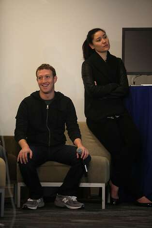 CEO Mark Zuckerberg and Product Communication Manager Meredith Chin watch a presentation on Graph Search. Photo: Liz Hafalia, The Chronicle
