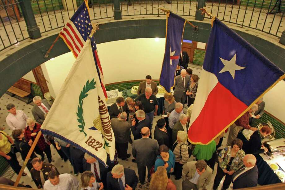 The Fort Bend County Courthouse, 401 Jackson St. in Richmond, was aglow on Feb. 19, 2009 as the 100th anniversary of its dedication, 1909-2009, was marked with a reception.The Fort Bend County Courthouse, 401 Jackson St. in Richmond, was aglow on Feb. 19, 2009 as the 100th anniversary of its dedication, 1909-2009, was marked with a reception. Photo: Suzanne Rehak, Freelance / Freelance