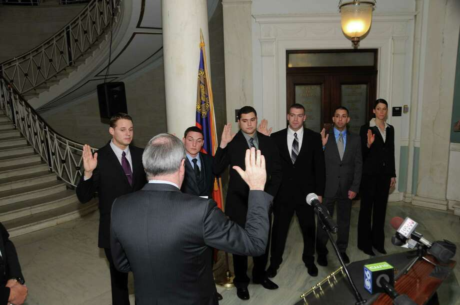 Mayor Gary McCarthy swears in six new Schenectady police officers on Jan. 13, 2013. Photo by  John Ericson, Schenectady Police Department