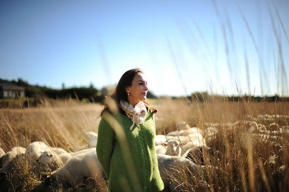 Harmeet Dhillon of San Francisco, above, founded Sea Ranch Woolworks, which employs local knitters, left, uses natural dyes and gets its wool from sheep used in the fire abatement program. Photo: Erik Castro, Special To The Chronicle