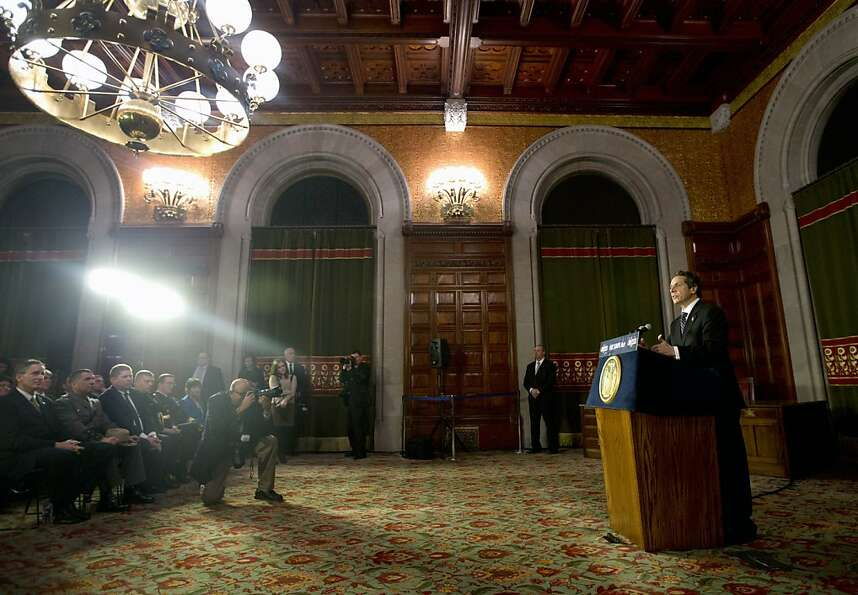 New York Gov. Andrew Cuomo speaks before signing New York's Secure Ammunition and Firearms Enforceme