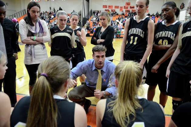 Trumbull coach Steve Tobitsch instructs the players as Stamford High School hosts Trumbull High School in girls varsity basketball in Stamford, CT on Jan. 15, 2013. Photo: Shelley Cryan / Shelley Cryan for the Stamford Advocate/ freelance Shelley Cryan