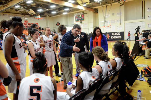 Stamford coach Todd Parness instructs the team as Stamford High School hosts Trumbull High School in girls varsity basketball in Stamford, CT on Jan. 15, 2013. Photo: Shelley Cryan / Shelley Cryan for the Stamford Advocate/ freelance Shelley Cryan