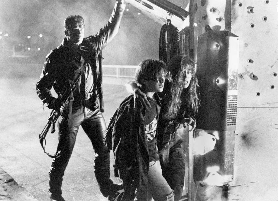 "Here's the Arnold Terminator protecting the Connors in ""Terminator 2."" Photo: Tri-Star Pictures / ONLINE_YES"