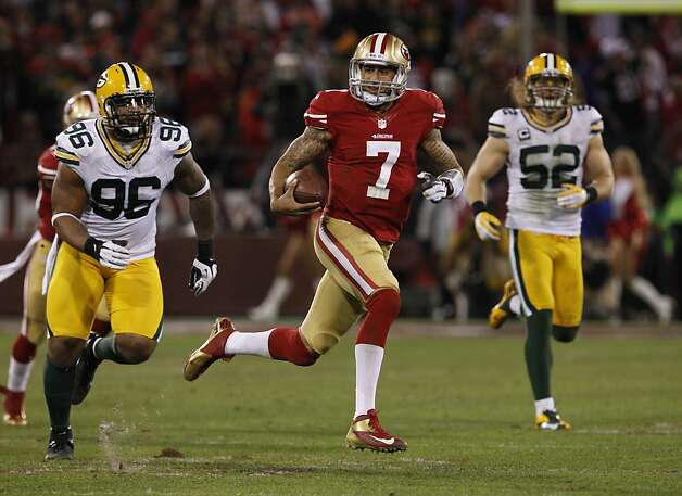 Quarterback Colin Kaepernick (7) during the San Francisco 49ers game against the Green Bay Packers in the NFC Divisional Playoffs at Candlestick Park in San Francisco, Calif., on Saturday January 12, 2013. Photo: Carlos Avila Gonzalez, The Chronicle