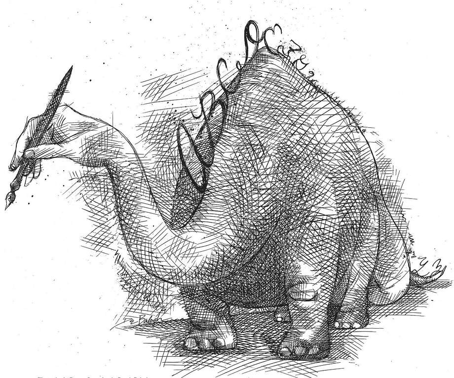 "Size as needed (170 dpi, 51p x 43p), Dennis Balogh B&W illustration of dinosaur with head that looks like human hand holding a pencil and scales along its spine that look like cursive handwriting. With story about what a ""dinosaur"" handwriting has become in the computer age. The Akron Beacon Journal, 1996  With WRITING, Knight-Ridder by David Giffels   CATEGORY: ILLUSTRATION SUBJECT: WRITING illus ARTIST: Dennis Balogh ORIGIN: Akron Beacon Journal TYPE: EPS JPEG SIZE: As needed ENTERED: 2/21/96 REVISED: STORY SLUG: WRITING, Knight-Ridder by David Giffels  illustration, feature, education, school, handwriting, writing, cursive, technology, computer, AK, 1996, Balogh, Giffels"