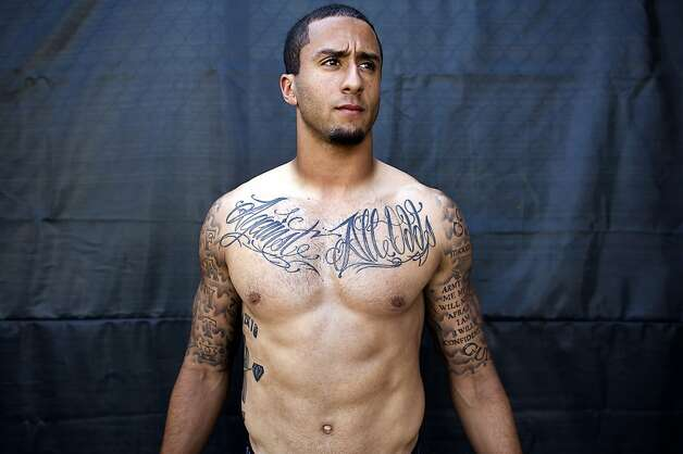 Backup Quarter Back Colin Kaepernick shows off his many tattoo's at the 49ers practice facility in San Carlos, CA Wednesday September 19th, 2012. Photo: Michael Short, Special To The Chronicle
