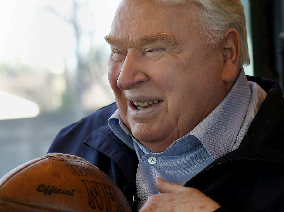 John Madden talked about the strength of John Elway's arm as he sat on his bus. John Madden, the former Oakland Raiders coach, and television personality talked about the 49ers and the upcoming playoff game at his offices in Pleasanton, Calif. Tuesday January 15, 2013. Photo: Brant Ward, The Chronicle