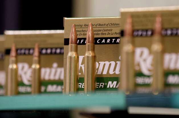 Remington rifle cartridges are displayed at the 35th annual SHOT Show, Tuesday, Jan. 15, 2013, in Las Vegas. The National Shooting Sports Foundation was focusing its trade show on products and services new to what it calls a $4.1 billion industry, with a nod to a raging national debate over assault weapons. Photo: Julie Jacobson, (AP Photo/Julie Jacobson) / Associated Press