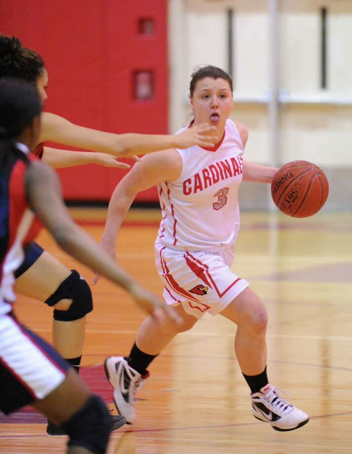 Caroline Barrett # 3 of Greenwich during the girls high school basketball game between Brien McMahon High School and Greenwich High School at Greenwich, Tuesday night, Jan. 15, 2013. Photo: Bob Luckey / Greenwich Time