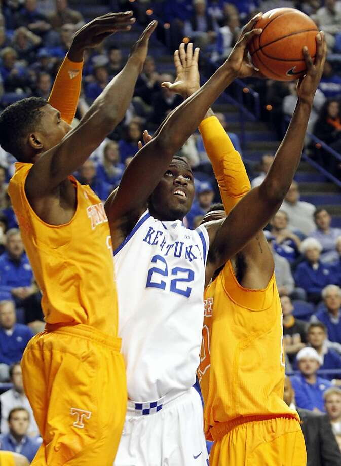 Kentucky's influx of talent, like freshman Alex Poythress (center), hasn't come close to duplicating the success of last year's national title team. Photo: James Crisp, Associated Press