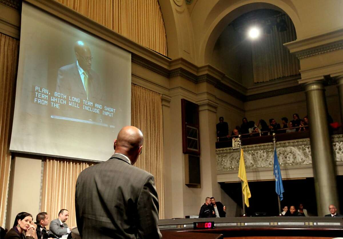 """Oakland Police Chief Howard Jordan address the stop and frisk """"hearing Tuesday Jan 15, 2013. The Oakland City Council's Public Safety Committee meeting Tuesday heard from hundreds of it's citizens that wanted to voice their opinions about consultant William Bratton, """"stop and frisk """" policy, in Oakland California."""