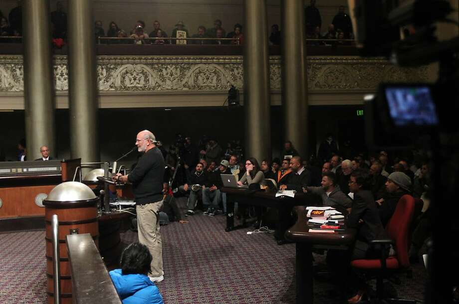"""Oakland resident Jim Dexter addressed the hearing regarding the """"stop and frisk """" procedure Tuesday Jan 15, 2013. The Oakland City Council's Public Safety Committee meeting Tuesday heard from hundreds of it's citizens that wanted to voice their opinions about consultant William Bratton, """"stop and frisk """" policy, in Oakland California. Photo: Lance Iversen, The Chronicle"""