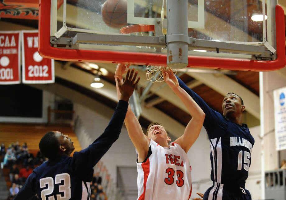 Boys basketball action between Fairfield Prep and Hillhouse at Alumni Hall at Fairfield University in Fairfield, Conn. on Tuesday January 15, 2013. Photo: Christian Abraham / Connecticut Post