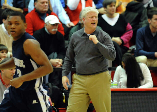 Fairfield Prep Head Coach Leo Redgate during boys basketball action against Hillhouse at Alumni Hall at Fairfield University in Fairfield, Conn. on Tuesday January 15, 2013. Photo: Christian Abraham / Connecticut Post