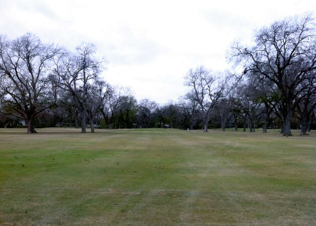 The trees along the fairways at Starcke Park Golf Club in Seguin may be bare in the winter, but they still pose a problem for stray shots. Photo: LeAnna Kosub, San Antonio Express-News