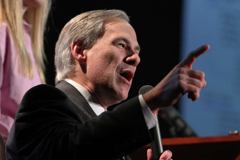 Texas Attorney General Greg Abbott addresses supporters at the VictoryTexas 2010 election night party at the Buda Exotic Game Ranch in Buda, Texas on Tuesday, Nov. 2, 2010.  Kin Man Hui/kmhui@express-news.net Photo: KIN MAN HUI, SAEN Staff / San Antonio Express-News