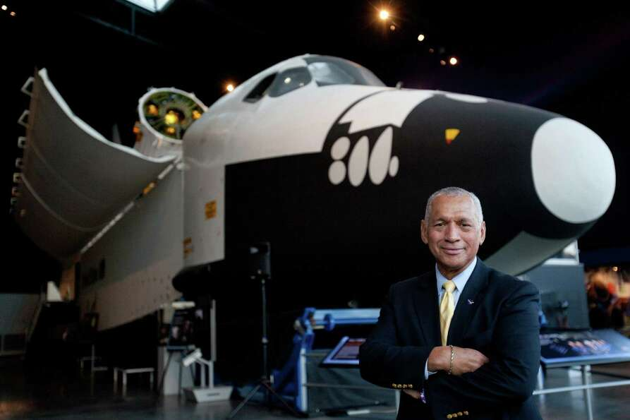 NASA Administrator Charles Bolden stands in front of the Space Shuttle's Full Fuselage Trainer on Tu