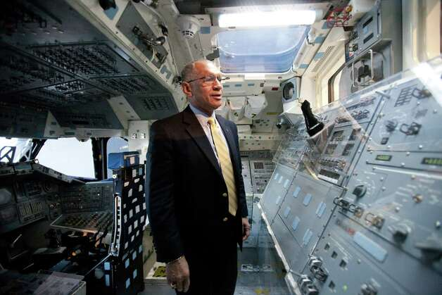 NASA Administrator Charles Bolden remembers his own time training in the Space Shuttle's Full Fuselage Trainer  in the Charles Simonyi Space Gallery at the Museum of Flight in Seattle.  Photo: JOSHUA TRUJILLO, SEATTLEPI.COM / SEATTLEPI.COM