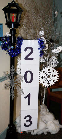 A decorative lamppost greets guests of the Jan. 4, 2013, New Yearís pajama party held at the New Milford Senior Center. Photo: Deborah Rose