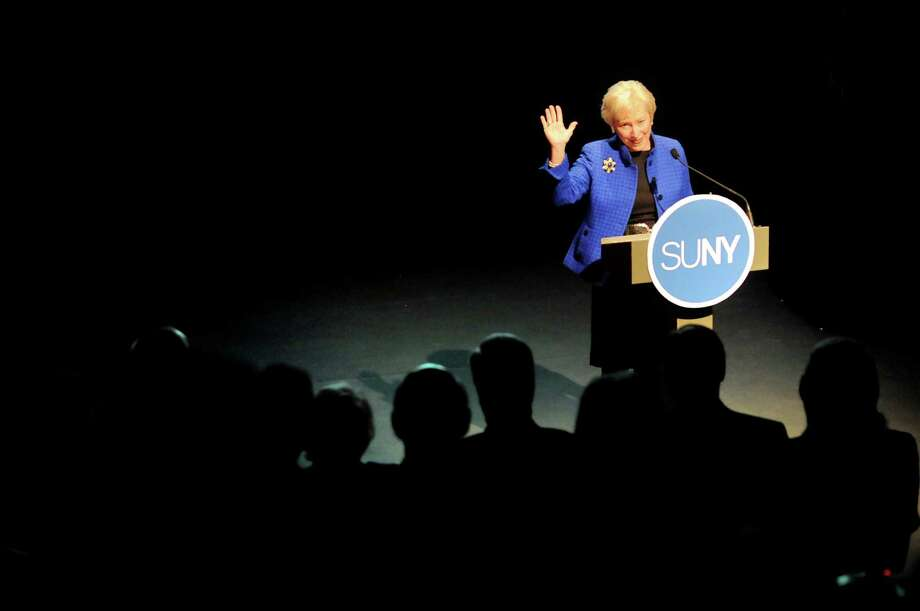 State University of New York Chancellor Nancy L. Zimpher delivers her third annual State of the University Address on Tuesday, Jan. 15, 2013, at The Egg in Albany, N.Y. (Cindy Schultz / Times Union) Photo: Cindy Schultz / 00020772A