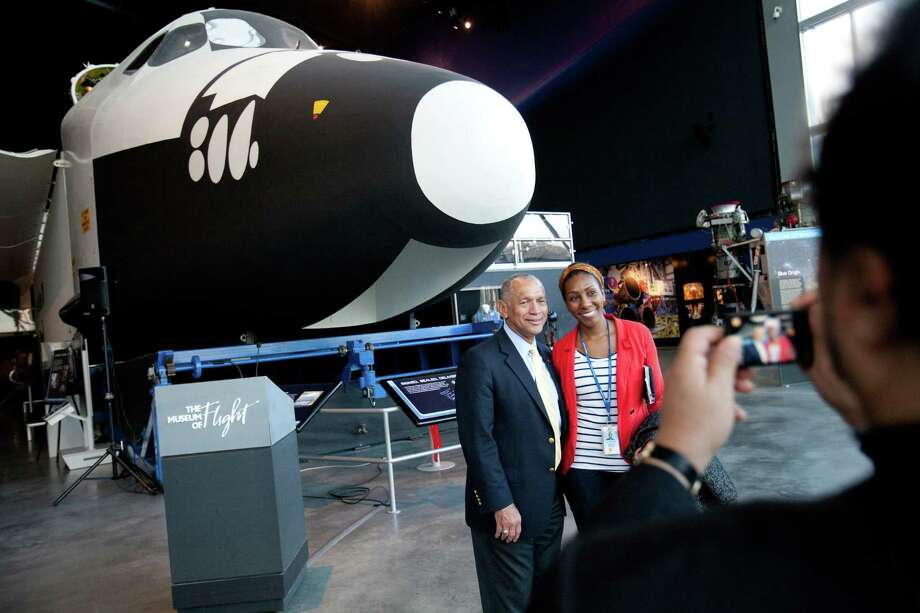 NASA Administrator Charles Bolden poses for a photograph next to the Space Shuttle's Full Fuselage Trainer. Photo: JOSHUA TRUJILLO, SEATTLEPI.COM / SEATTLEPI.COM