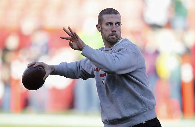 San Francisco 49ers quarterback Alex Smith warms up before an NFC divisional playoff NFL football game against the Green Bay Packers in San Francisco, Saturday, Jan. 12, 2013. Photo: Tony Avelar, Associated Press