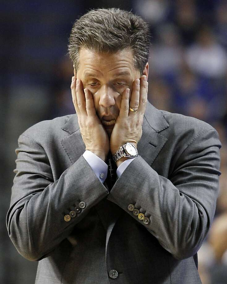 Kentucky coach John Calipari reacts to his team's play during the second half of an NCAA college basketball game against Kentucky at Rupp Arena in Lexington, Ky., Tuesday, Jan. 15, 2013. Kentucky defeated Tennessee 75-65. (AP Photo/James Crisp) Photo: James Crisp, Associated Press