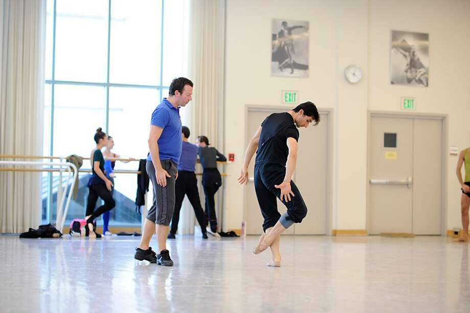 "Choreographer Alexei Ratmansky (left) and S.F. Ballet's Davit Karapetyan rehearse Ratmansky's ""From Foreign Lands."" Photo: Erik Tomasson"
