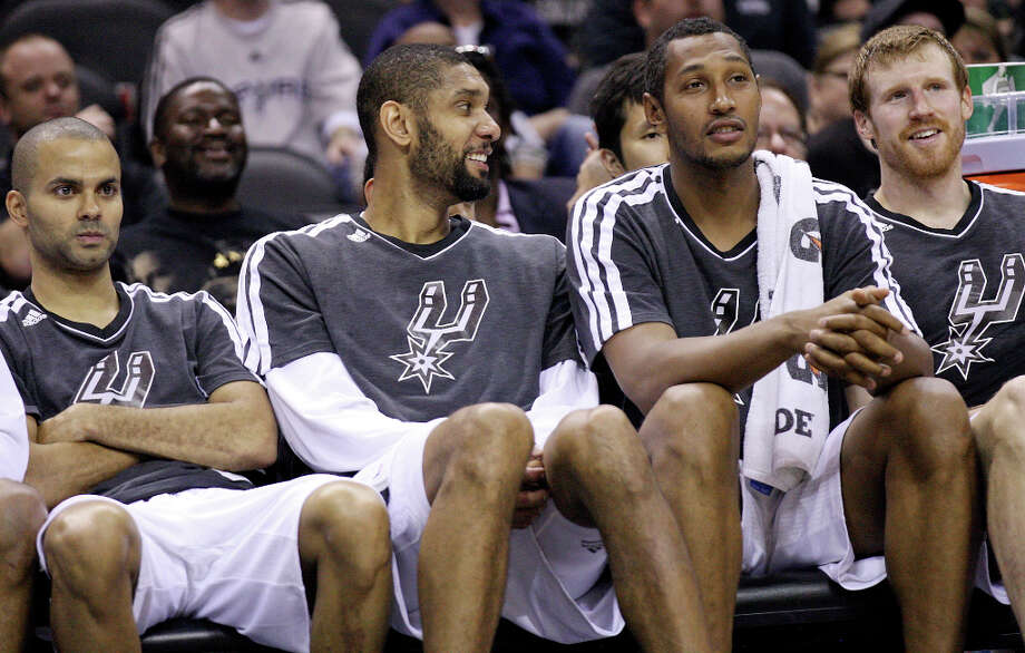 Halfway through their season the Spurs have the third-best record in the NBA and reason to believe they can make another long playoff run. Express-News staff writer Mike Monroe provides some highlights of the first 40 games, including a couple of occurrences the team would have been happy to do without:PHOTO: Spurs players Tony Parker (from left), Tim Duncan, Boris Diaw, and Matt Bonner relax on the bench during second half action against the Indiana Pacers Nov. 5, at the AT&T Center. The Spurs won 101-79. Photo: Edward A. Ornelas, San Antonio Express-News / © 2012 San Antonio Express-News