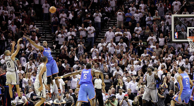 Revenge, served coldTony Parker's cold-blooded 20-footer at the buzzer gives the Spurs an 86-84 victory over the Thunder in the home opener against the team that eliminated them in Western Conference finals.PHOTO: Parker shoots the game winning two-point basket in the final seconds Nov. 1 at the AT&T Center. Photo: Edward A. Ornelas, San Antonio Express-News / © 2012 San Antonio Express-News