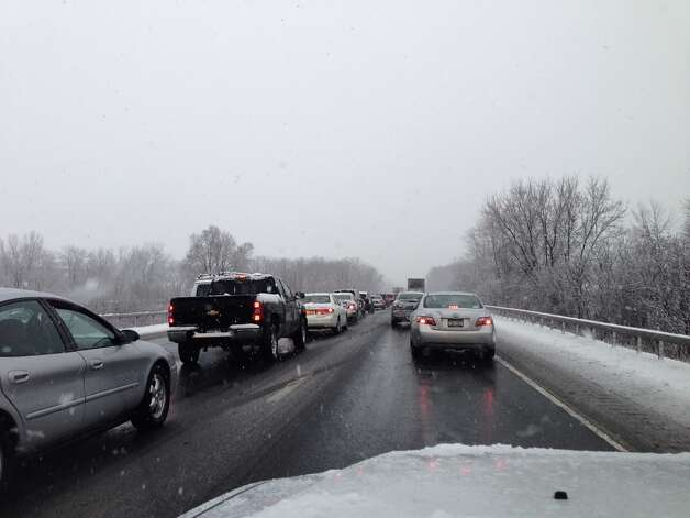 Traffic moving slowly along I-87 south near the I-90 interchange on Wednesday morning, Jan. 16, 2013. (Paul Buckowski / Times Union) Photo: (Paul Buckowski / Times Union)