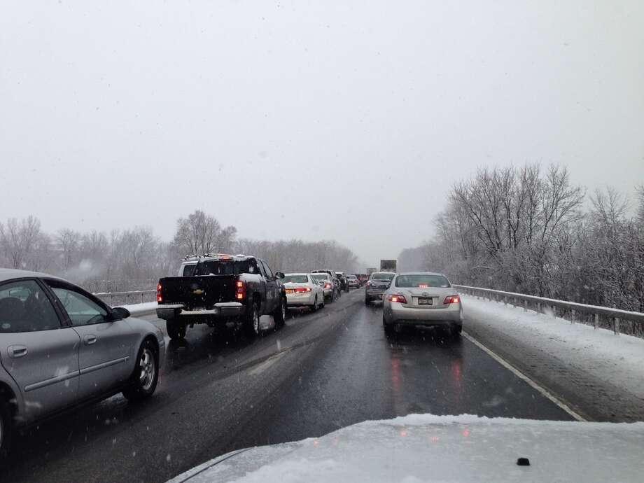 Traffic moving slowly along I-87 south near the I-90 interchange on Wednesday morning, Jan. 16, 2013. (Paul Buckowski / Times Union) Photo: (Paul Buckowski / Times Union)