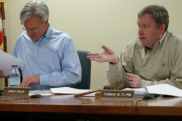 Finance board members James Walsh, left, and Chairman Thomas Flynn, during Tuesday's discussion of funding to repairs needed thanks to Superstorm Sandy. Photo: Genevieve Reilly / Fairfield Citizen