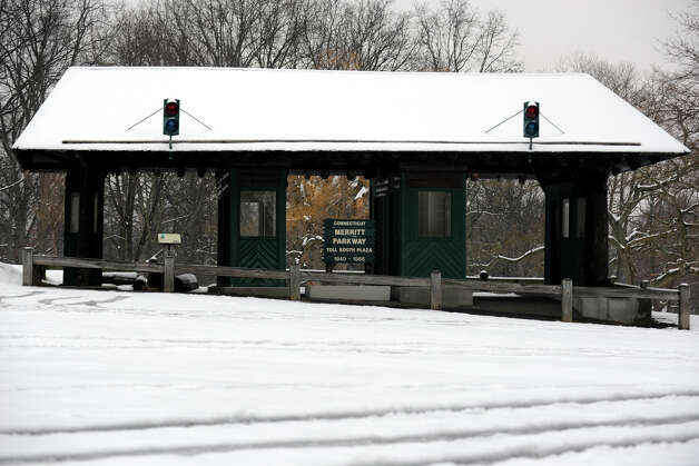 The old Merritt Parkway toll plaza in Boothe Memorial Park, in Stratford, Conn. on a snowy morning, Jan 16th, 2013. Photo: Ned Gerard / Connecticut Post