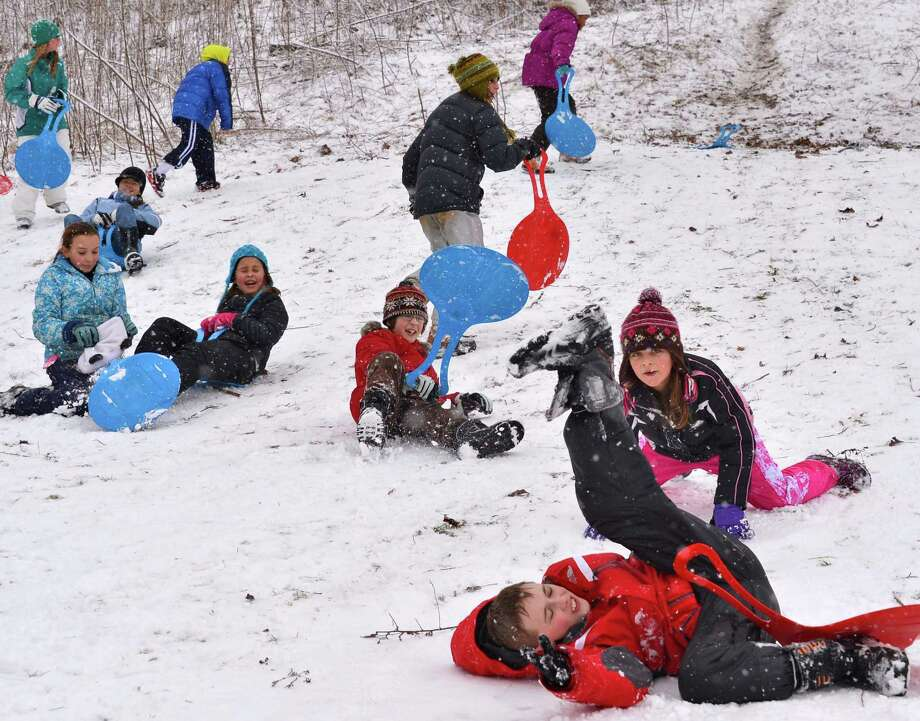 Waldorf School fifth graders play in the snow during a class outing to High Rock Park Wednesday morning, Jan. 16, 2013, in Saratoga Springs, N.Y.  (John Carl D'Annibale / Times Union) Photo: John Carl D'Annibale / 00020789A